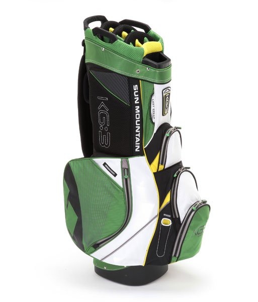 Sun Mountain KG:3, ($210; Buy it Now)                       A cart strap tunnel that passes under one of nine forward-facing pockets (including compartments for beverages and a mobile phone) ensures accessibility once the bag is secure. A full-length, 15-way divided top and external putter well protect clubs while multiple handle-holds (three on the bag's top and one on the base) make lifting and transporting clubs a cinch.