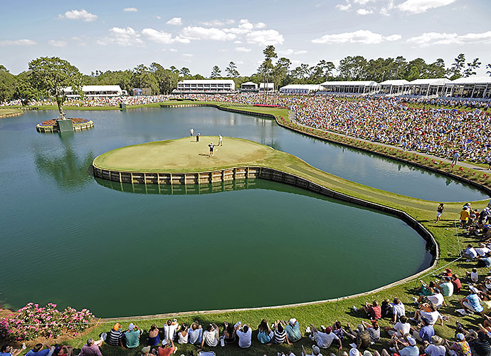 8. TPC Sawgrass (PLAYERS Stadium), Ponte Vedra Beach, Fla., No. 17, par-3: There isn't a par-3 anywhere that induces sweaty palms and a bumped up heart rate than the 17th at TPC Sawgrass. It's only 137 yards from the tips, but to hit and hold its apple-shaped island green requires perfect distance and trajectory.