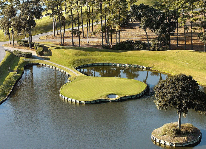 5. TPC Sawgrass (PLAYERS Stadium), Ponte Vedra Beach, Fla.                              The Players tees: 7,215 yards, par 72; rating: 76.8, slope: 155.                            What a 16 handicapper would shoot: 96                            Find out your own handicap in seconds.                             The Marquis de Sod, Pete Dye, changed golf-course architecture for all time with this 1980 design of Deane Beman's vision. Though it's been softened since, today it remains a spectacular mix of serpentine waste bunkers, endless water hazards, grassy moguls and hollows and semi-blind shots.