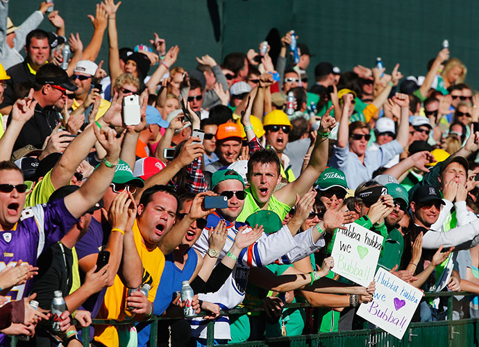 Phoenix/Scottsdale, Ariz.                           By far the largest galleries in golf swarm the grounds of the TPC Scottsdale's Stadium course every year for the Waste Management Phoenix Open. Many of these fans actually come for the golf, but the week is one gigantic party. The wildest scene on Tour blankets the par-3 16th hole on Saturday. If Arizona State grad Phil Mickelson is in the hunt, the place is bedlam. An all-time, one-day record of 189,722 people greeted players in the 3rd round in 2014.
