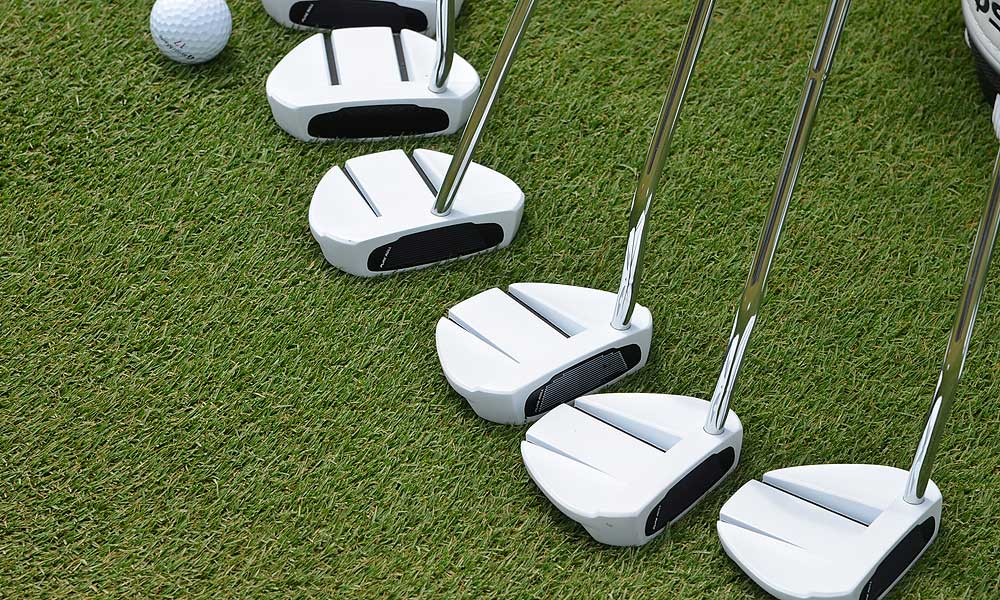 A selection of TaylorMade Ghost Manta putters.