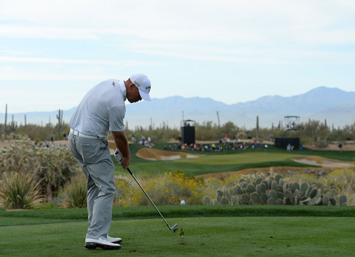 Thomas Bjorn takes aim at the third green during his 2 and 1 victory over Francesco Molinari.