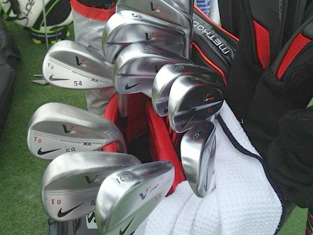 Thorbjorn Olesen's Nike VR Pro Blades and wedges, complete with initials.
