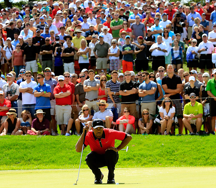 In his first start after the British Open, Woods earned title No. 5 on the 2013 season by running away for a seven-shot victory at the Bridgestone Invitational. It was his eighth career title at Firestone, matching his eight wins at Bay Hill and Torrey Pines.