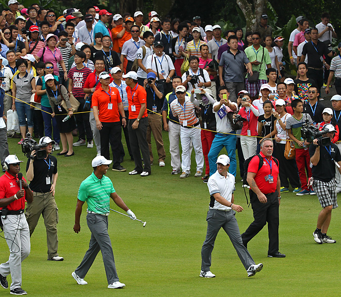 For the second straight year, Woods played an exhibition match against Rory McIlroy in China, this time at the Blackstone Course at Mission Hills. McIlroy won the match by one shot, firing a 67 to Woods' 68.
