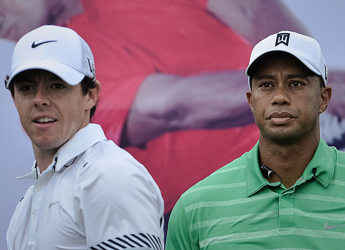 Rory McIlroy and Tiger Woods met in head-to-head competition for only the second time on Monday, the first being the Duel at Jinsha Lake in 2012, where McIlroy also defeated Woods by a single stroke.