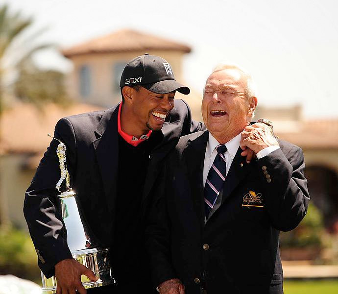Two weeks after triumphing at Doral, Woods shared a laugh with the King after winning the Arnold Palmer Invitational. It was the 77th PGA Tour title of Woods' career and eighth at Bay Hill, and it vaulted him past Rory McIlroy for the No. 1 ranking. It was the first time Woods had reached No. 1 since October, 2010, and he would not relinquish it for the rest of the season.