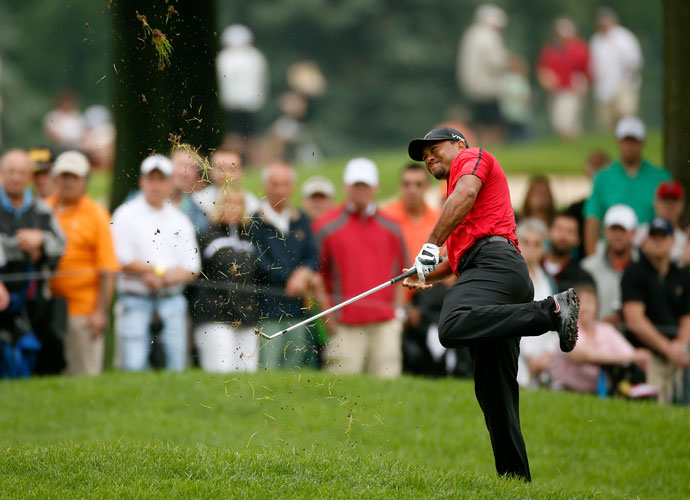 August 3, 2014: Woods re-aggravated his back taking an awkward approach shot from the lip of a bunker during the final round of the WGC-Bridgestone Invitational. He withdrew after eight holes.