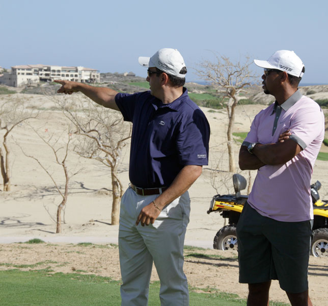 Tiger Woods and Diamante CEO Ken Jowdy tour the Woods-designed El Cardonal Golf Course in Cabo San Lucas.