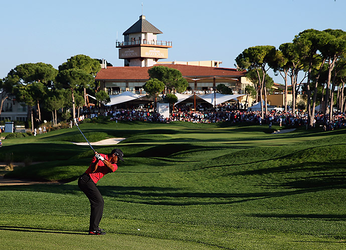 Montgomerie Maxx Royal Course in Belek, Antalya, Turkey: The highest profile course in the Thanksgiving-centric country of Turkey is a Colin Montgomerie design that recently played host to the Turkish Airlines Open, where Tiger Woods gave chase, but closed four shots back of Frenchman Victor Dubuisson. The parkland layout is spiced with sand ridges, as befits its location near the Mediterranean Coast.