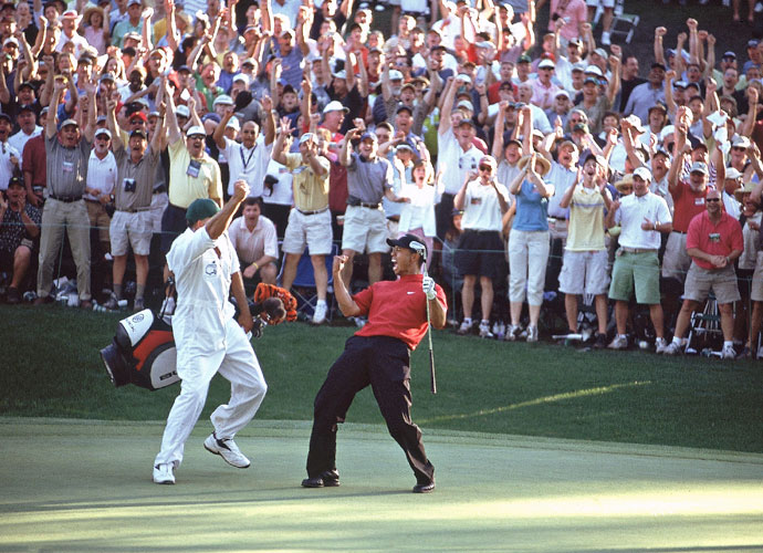 "2. Tiger Woods                             ""He has hit some of the most incredible shots in the history of the game,"" Top 100 Teacher Jim Murphy said of Tiger Woods, who was voted the second greatest scrambler of all time. One of them was the winding chip he holed on the 16th during the 2005 Masters (left). The birdie helped Tiger secure his fourth green jacket."