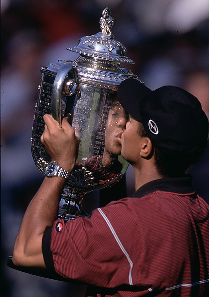6.	Tiger Woods, 1999                                 Following an indifferent sophomore season in 1998, Woods lived up to every bit of the superstar promise he displayed in 1997. His 1999 season featured eight wins, among them the PGA Championship, in a stirring duel at Medinah with teenager Sergio Garcia. Thirteen top-5s in 21 events cemented his status as best in the game.