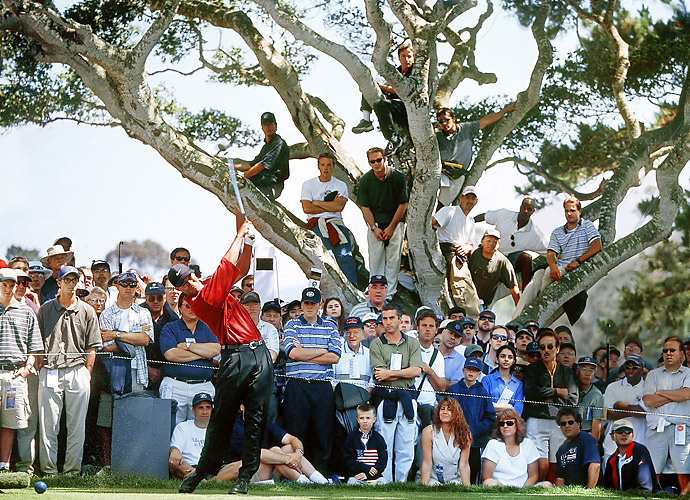 1.	Tiger Woods, 2000                                   To many of golf's top observers, from media to former stars to current players, the golf that Tiger Woods produced in 2000 was the greatest of all time. He finished top-5 or better in 17 of his 20 U.S. tournaments and won nine times, including the year's final three majors. He captured the U.S. Open by 15 shots, the British Open by eight. Astonishing.