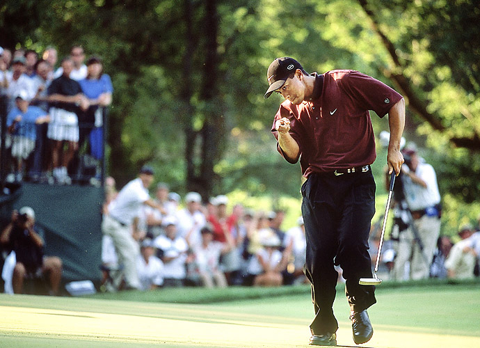 Tiger Woods made it two straight PGA titles by taking down Bob May in a playoff at the 2000 PGA at Valhalla.