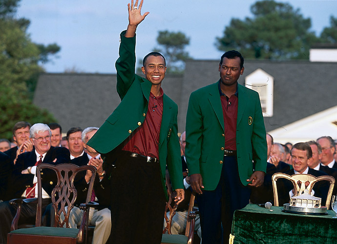9.	Tiger Woods, 2001                                   Five PGA Tour wins, including the Masters, would be a career year for anybody -- anybody but Tiger. For folks with short memories of just how dominant Tiger was, year-after-year, 2001 was only Woods' seventh best season in his pro career. Yet, he won Arnie's event at Bay Hill, Jack's party at The Memorial and The Players, among others. 18 top-25s in 19 events, one other European Tour win -- amazing, but routine for Tiger.