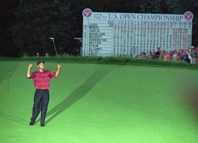 "4.	Tiger Woods, 2002                           Another double-major year, winning the Masters and the ""People's Open,"" --  the U.S. Open at brutal Bethpage Black. He landed three other PGA Tour wins and showed incredible consistency -- as usual -- with 11 top-5s in 18 starts. For good measure, he landed the Deutsche Bank-SAP event in Germany on the European Tour, downing Colin Montgomerie in a playoff."