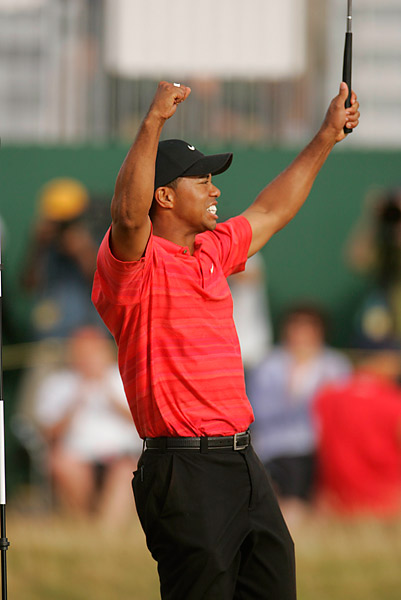 2.	Tiger Woods, 2006                                   Eight PGA Tour wins, two majors -- the British Open and PGA back-to-back -- and ten top-5s in 15 starts. And while he was collecting frequent flier miles, he also earned a European Tour win at Dubai, in a playoff over Ernie Els.