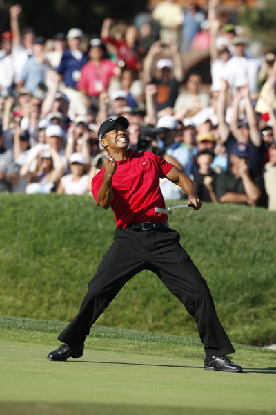 2008 | Comeback                                   Postponing surgery, Woods wins the U.S. Open at Torrey Pines, beating Rocco Mediate in 19 extra holes, on a severely damaged left leg.