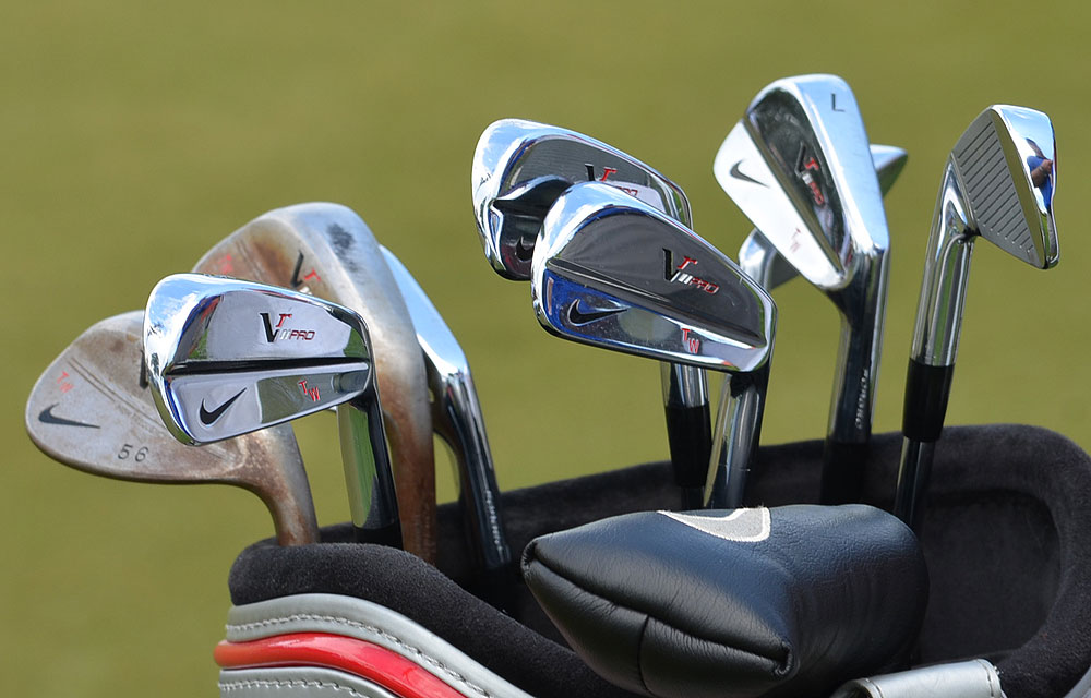 While Nike reps working on Tiger Woods' driver, 3-wood and 5-wood, his VR Pro Blade irons waited for him in the practice area.