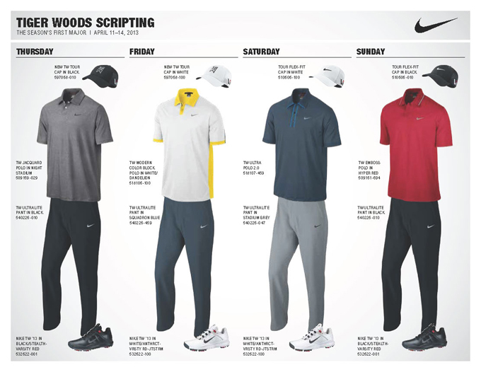 Tiger's Masters ensembles are very basic this year, but he has always looked his best in classic solids. Saturday's outfit is my favorite. I'm loving gray pants right now, and the fun blue piping on the collar of the polo coupled with the white hat/white shoe combination will look sharp. Here's hoping he selects a white belt to complete the look!