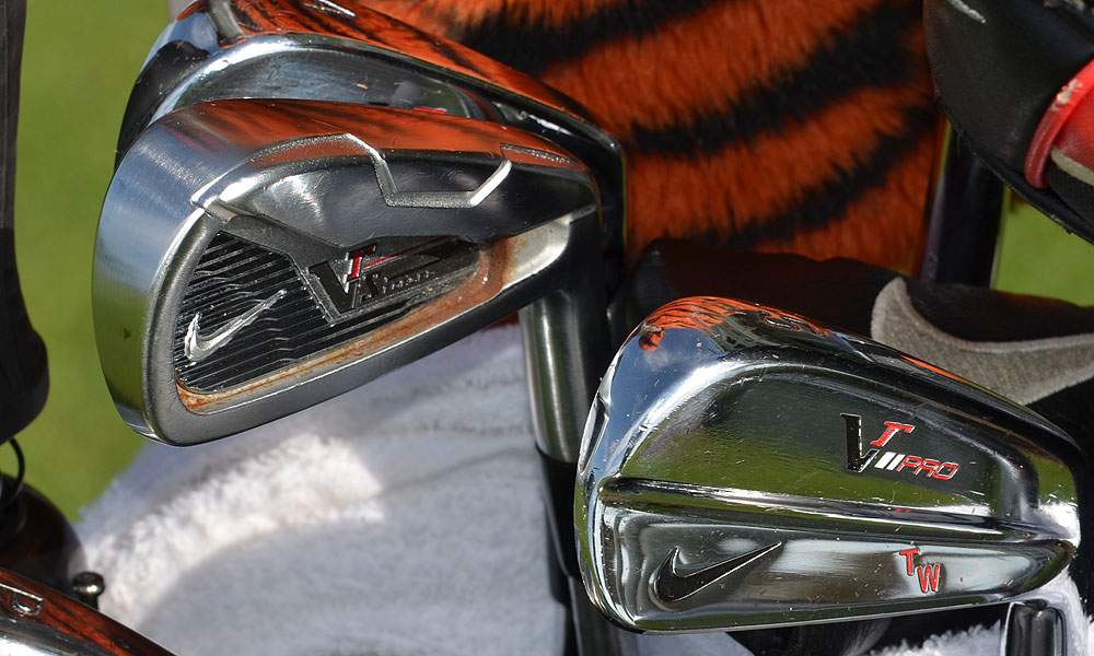 Some of the steel in Tiger's Nike VR_S Forged 2-iron is starting to rust.