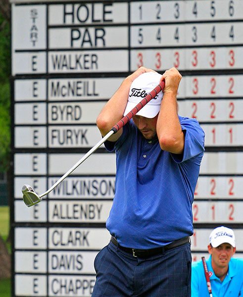 Tim Clark reacts to missing a birdie putt on the 18th green. He shot a 3-under 67 on Thursday.