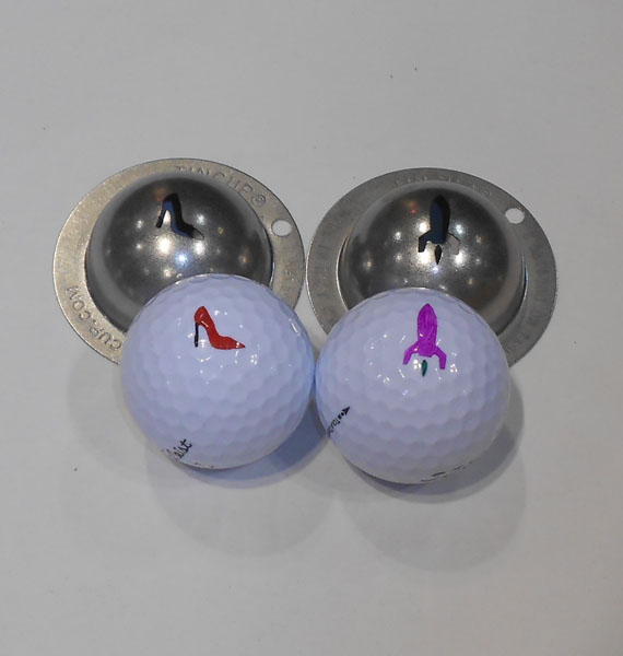 The high-heeled shoe and rocket ball marker stencils are two of the latest designs from Tin Cup. You can choose your favorite from 110 options at their website.