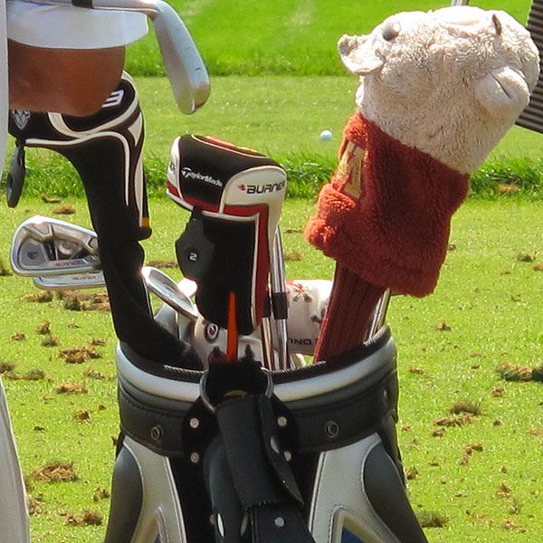 got a big round of applause when he arrived on the range. A native of Minnesota, he has a University of Minnesota Golden Gopher covering his driver.