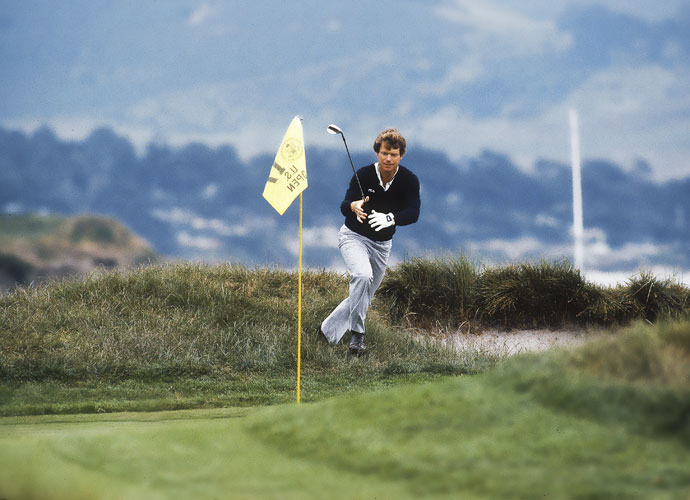 5. Tom Watson                             Watson's greatest scrambling moment came at Pebble Beach in 1982 when he holed a chip from a seemingly impossible lie at the par-3 17th hole. The birdie pushed him to a two-stroke victory over Jack Nicklaus.