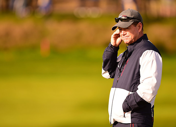 U.S. captain Tom Watson kept a close eye on his team's performance.