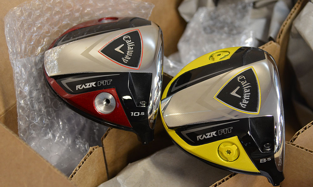 Callaway recently started offering the RAZR Fit driver in a variety of sole colors. The red driver is for Tommy Gainey, while the yellow is for Fredrik Jacobson.