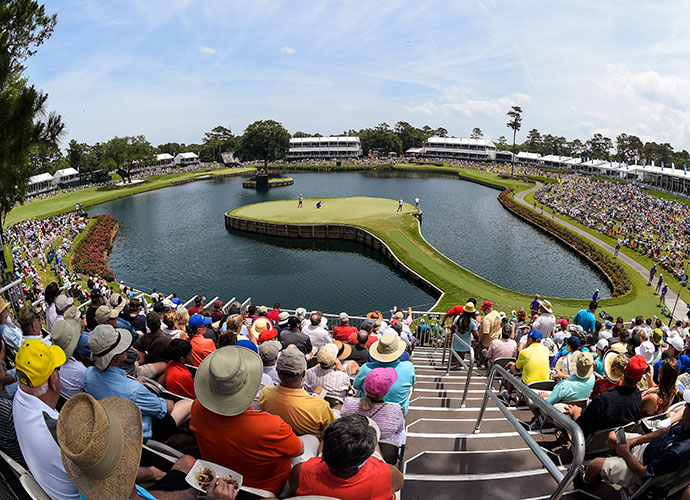 Ponte Vedra Beach, Fla.                           One of the greatest experiences in golf is watching players take on the 16th and 17th holes at the TPC Sawgrass Players Stadium course. With the 16th a reachable gambler's par-5 and the 17th being earth's scariest, most disaster-laden par-3, fans come early and stay late to thrive on the non-stop action.