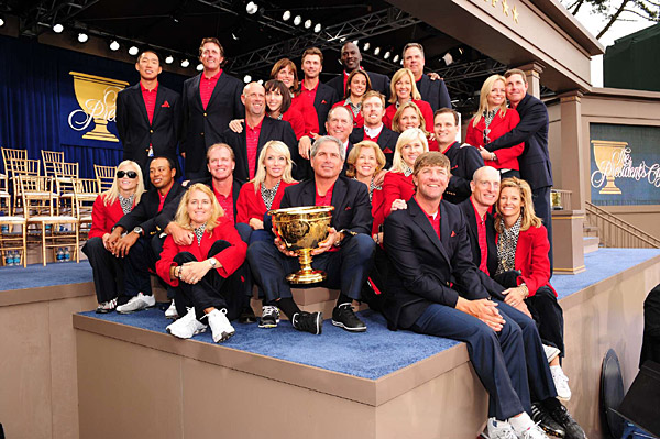 The United States team with wives and Michael Jordan, who was on hand this week as an honorary captain. The U.S. defeated the International team, 19 1/2-14 1/2, to improve to 6-1-1 in the Presidents Cup.