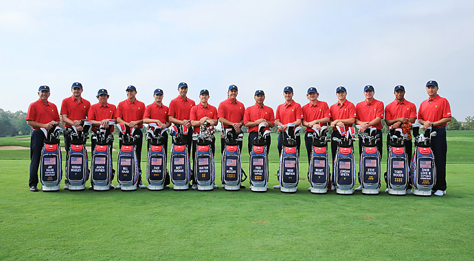 The U.S. team stands with their matching team golf bags.