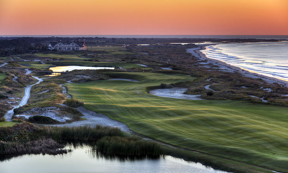 Hole 16, 581 yards, Par 5                           Downwind, pros can reach this straightaway par-5 in two. Into it, and No. 16 demands three precise shots to navigate the pond, dunes and steep-walled waste bunkers that guard the hole.