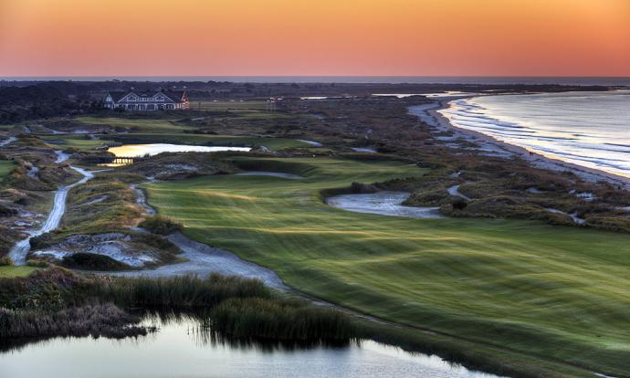 Kiawah Island Ocean Club                           Hole 16, 581 yards, Par 5 Downwind, pros can reach this straightaway par-5 in two. Into it, and No. 16 demands three precise shots to navigate the pond, dunes and steep-walled waste bunkers that guard the hole.