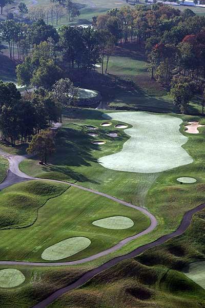 """Valhalla Golf Club                           Hole 13 — """"The Island""""                           352 yards, par 4"""