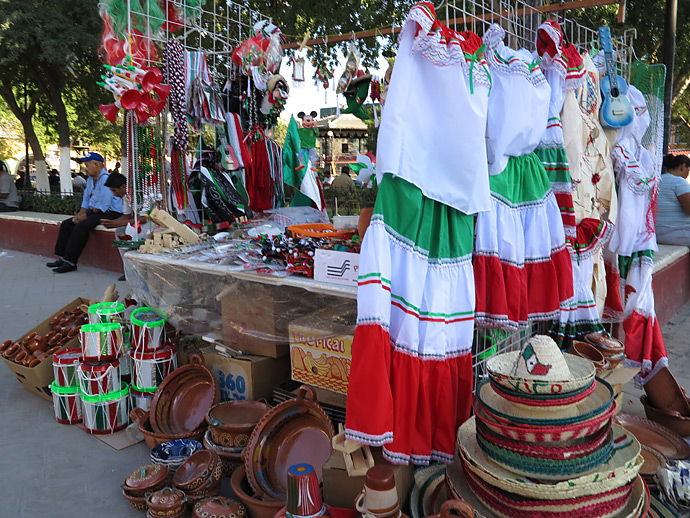 In downtown Juárez, street vendors have returned to sell their merchandise, which is often patriotic.