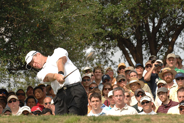 """A slow shutter speed made it look like the head of Scott Verplank's driver had snapped off in this shot from the Byron Nelson Championship."""