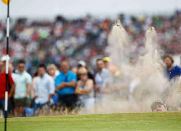 Victor Dubuisson used some of his short-game wizardry to escape from this bunker. The Frenchman finished T9 at -10.