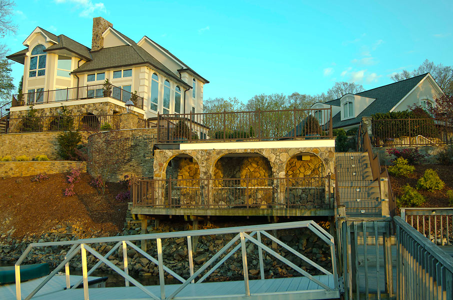 The back of the house, as seen from the docks.