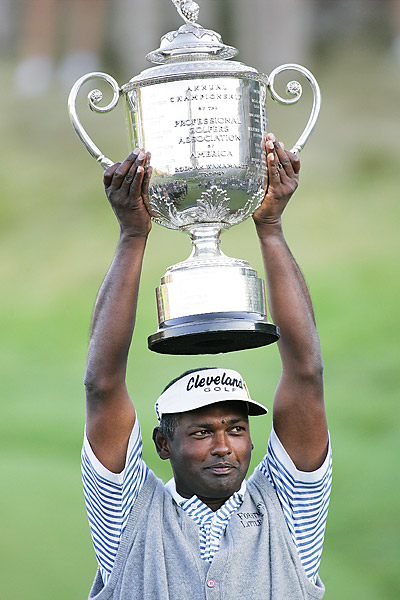 In the first major championship played at Whistling Straits, Vijay Singh outlasted Justin Leonard and Chris DiMarco in a playoff to hoist the Wanamaker Trophy. It was Singh's second PGA Championship victory.