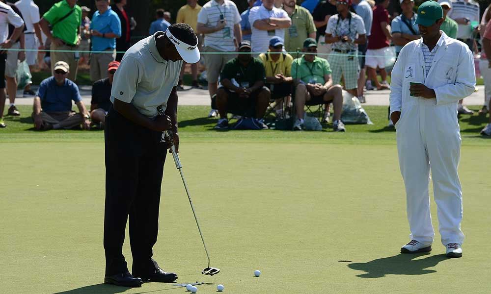 Vijay Singh, the 2000 Masters champion, has a Never Compromise X-Ray Beta belly putter with an oversized SuperStroke grip in his bag this week.