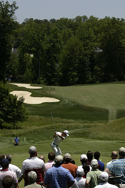 """Camilo Villegas teeing off on the third hole during the fourth round of the BellSouth Classic at TPC Sugarloaf in Duluth, Ga. No one knew I was there, which is just the way I like it."""