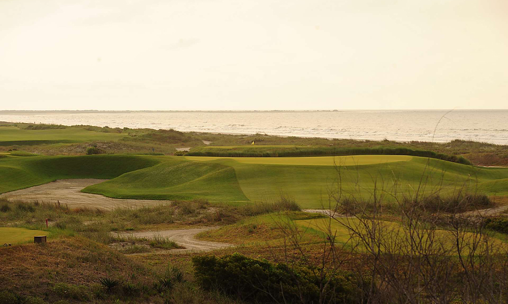 Hole 14, 238 yards, Par 3                       At this long par-3, the Ocean course turns toward the beach for its home stretch along the Atlantic. Before they get there, players will have to negotiate No. 14's swirling winds and plateau green, beset on all sides by trouble.