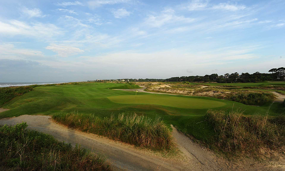 Hole 15, 444 yards, Par 4                           This rolling, mounded par-4 winds through Kiawah's seaside dunes and favors strategy over strength. From the tee, players must find the fairway to set up a a second shot to this small, secluded green.
