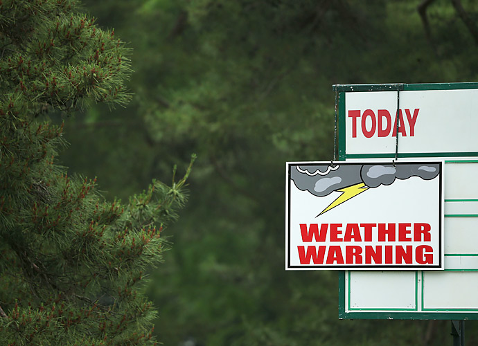 Players were called off the course repeatedly due to severe weather.