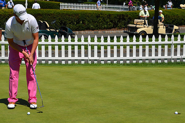 Webb Simpson won last week's Wyndham Championship. On Monday at Plainfield, he showed off a colorful pair of pants and the Ping Craz-E belly putter that helped him earn the title.