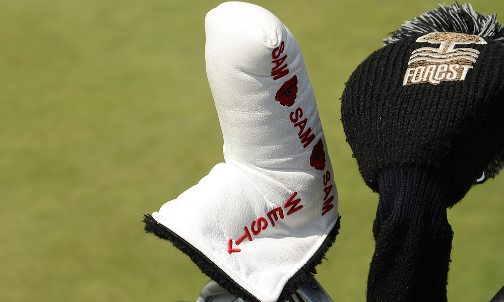 Lee Westwood's putter headcover is simple, but it reminds him of his son back home.