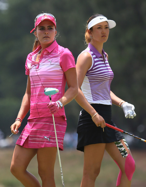 Lexi Thompson dropped two early birdies to pull within a shot of Wie on the front nine.